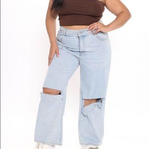 NWT Fashion Nova Bend the Rules Ripped Jeans sz 16